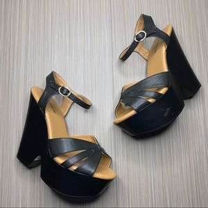 Torrid Black Platform Ankle Strap Sandals